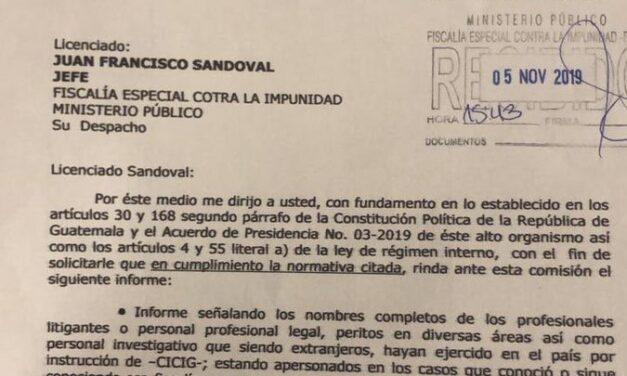 Diputado Juan Ramón Lau solicita información de ex trabajadores de la CICIG
